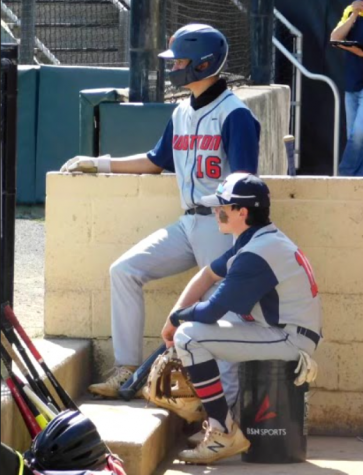 Sophomores Ryan Kunst and Ethan Goldstein get ready to hit at their game against Blair on May 15.