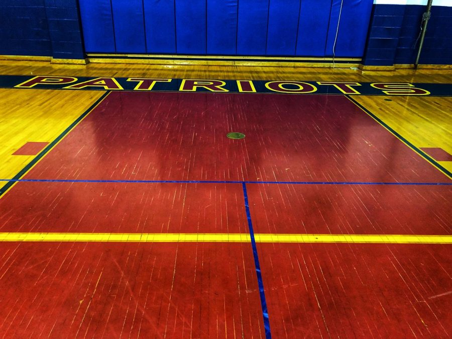 The basketball court awaits competitors.