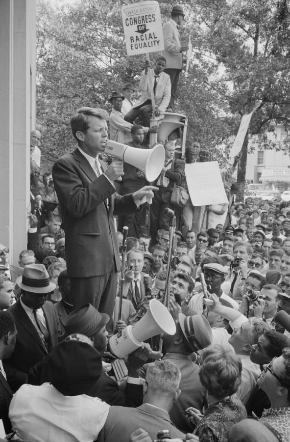 Senator Robert F. Kennedy speaks to Civil Rights demonstrators at the Justice Department.