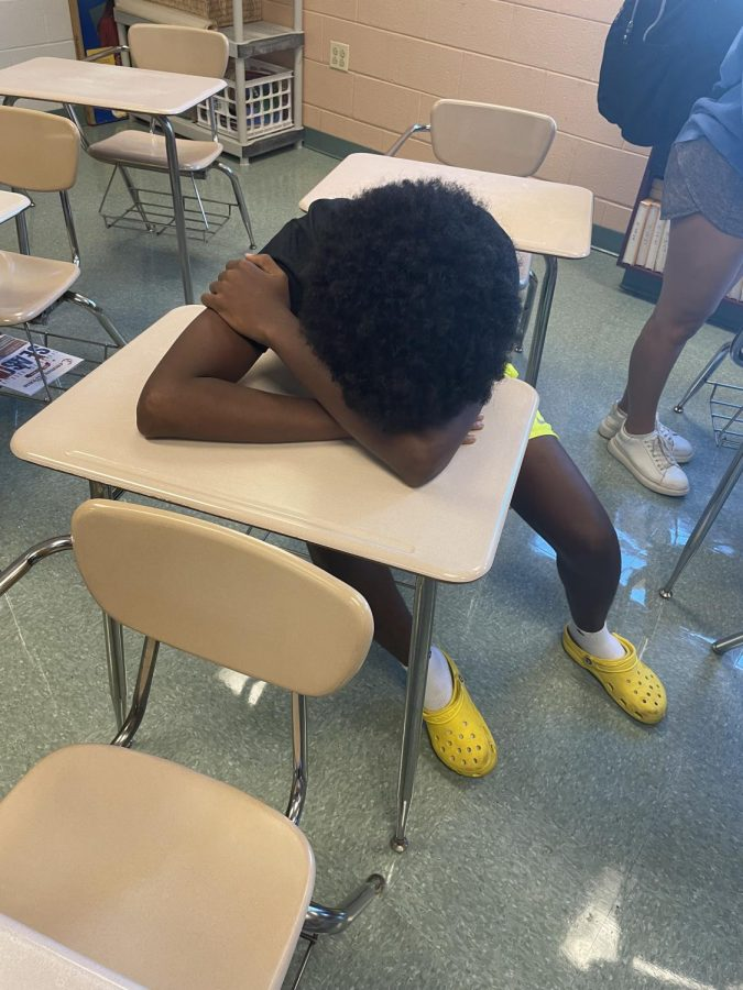 Junior Alex Neguisse cant help falling asleep in his second period class, AP Psychology.