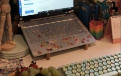 An example of a students desk organized to promote productivity and efficiency at home.