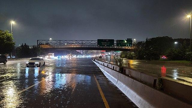 Long Island Expressway in New York City is shut down as Hurricane Ida rolls through New York on Sept. 1.