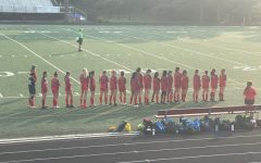 The girls JV soccer team gets ready to kickoff their home opener against Quince Orchard.