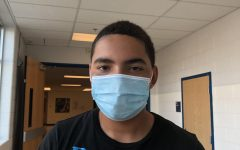 Among the new additions to the return to school are mask mandates, including for junior Luis Falcon. Masks are required inside school buildings (except for lunch), though they are optional in outdoor settings.