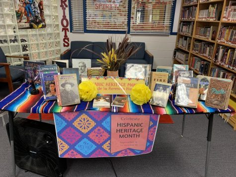 Hispanic Heritage Month display in the Media Center.