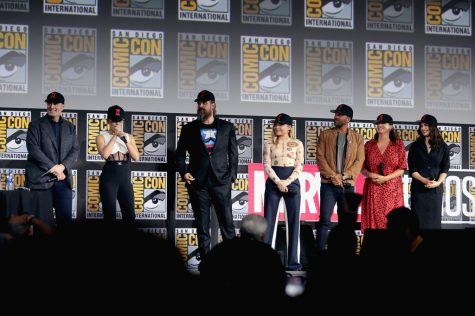The Black Widow cast, including Kevin Feige, Scarlett Johansson, David Harbour, Florence Pugh, O.T. Fagbenle, Cate Shortland and Rachel Weisz, announce their film at the 2019 San Diego Comic-Con.