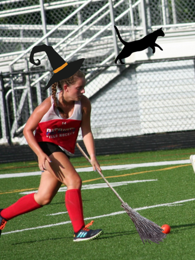 Senior Anna Keneally flies across the field to goal with supernatural speed.