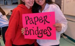 Seniors Katelyn Cheng and Olivia Smith attend a Paper Bridges club meeting in November 2019.