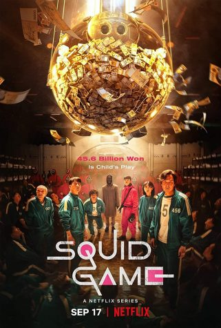 The official poster for Squid Game displays the piggy bank of money hovering over the characters heads, just out of reach.