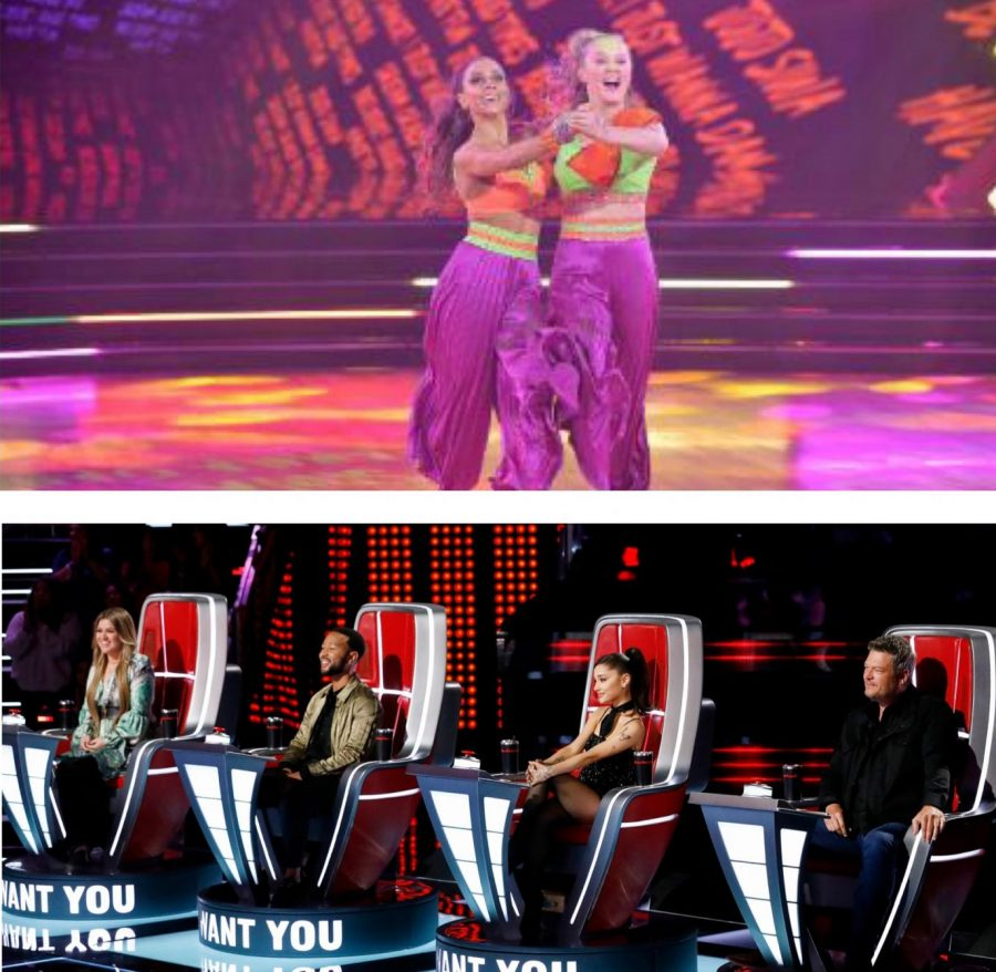 Jojo Siwa and Jenna Johnson are the first same sex couple on Dancing with the Stars; Ariana Grande joins Kelly Clarkson, John Legend and Blake Shelton as a coach on The Voice.